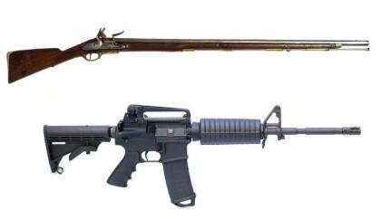 Un fusil du 18e siècle et un fusil...