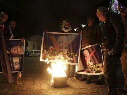 Des Palestiniens ont protesté à Bethléem contre le...
