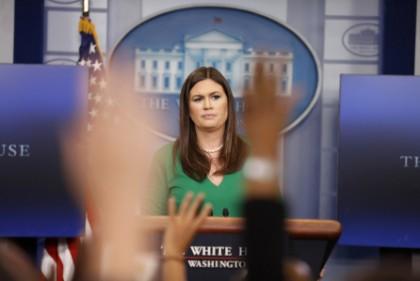 La porte-parole de la Maison-Blanche Sarah Huckabee Sanders...