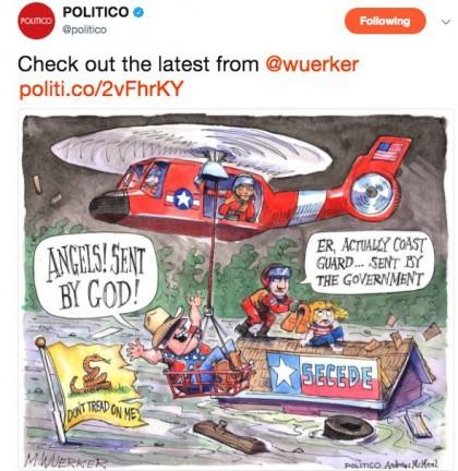 Politico a publié sur Twitter et sur son site ce dessin de son caricaturiste...
