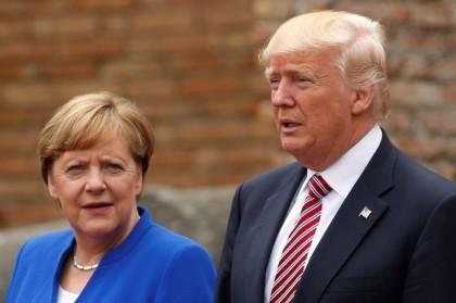 Angela Merkel et Donald Trump au sommet du...