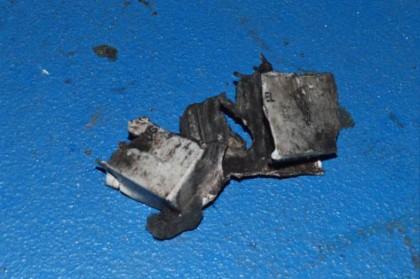 Les restes d\'une pile 12 volts qui aurait...