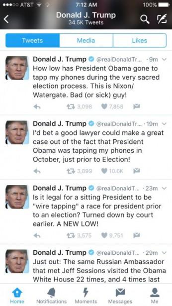 Dans une série de gazouillis matinaux, Donald Trump accuse Barack Obama d'avoir...