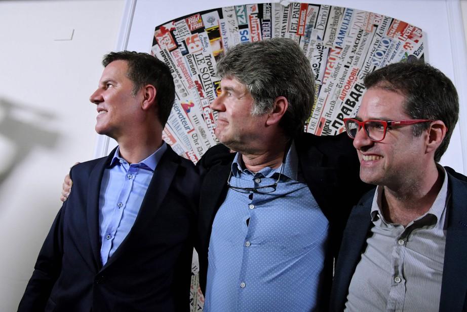 Juan Carlos Cruz, James Hamilton et Jose Andres... (Photo Tiziana Fabi, Agence France-Presse)