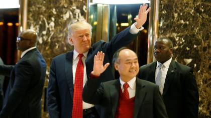 Donald Trump et Mayayoshi Son après leur rencontre...