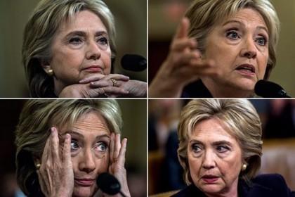Les différentes expressions d\'Hillary Clinton durant son audition-marathon....