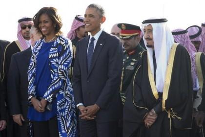 Michelle et Barack Obama à leur arrivée hier...
