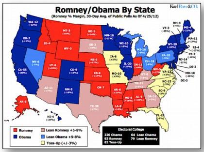 Karl Rove a publié hier sa première carte électorale de la campagne...