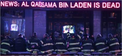 Des pompiers de New York ont célébré hier soir l'annonce de la mort d'Oussama...