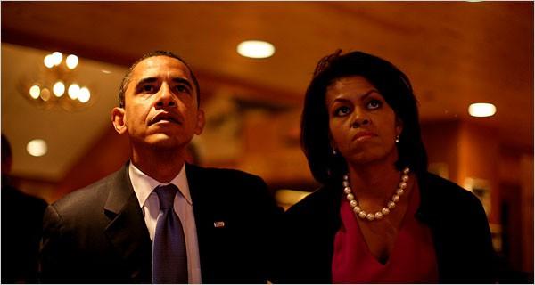 Que peut-on lire sur les visages de Barack et Michelle Obama, photographiés...