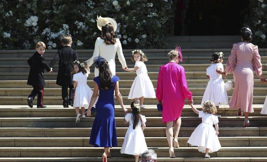 La duchesse de Cambridge Kate Middleton, avec ses enfants et Jessica Mulroney avec les pages. | 19 mai 2018