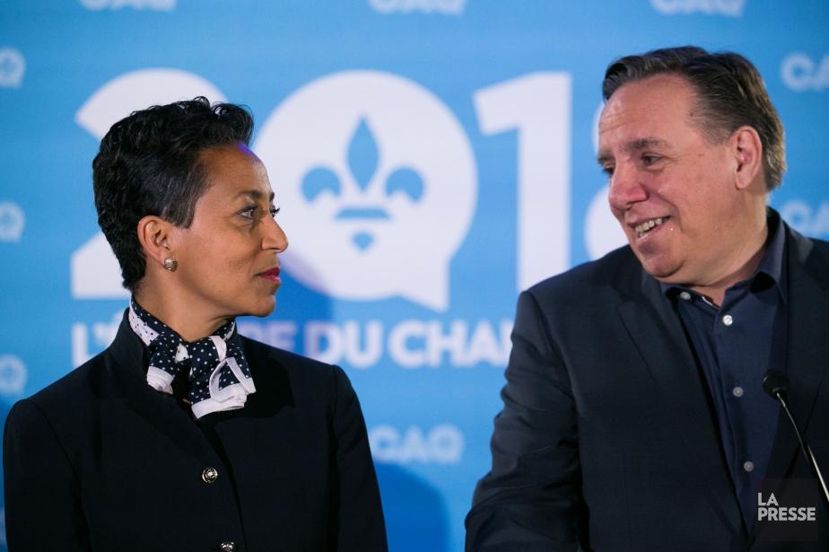 Nadine Girault et son chef, François Legault... (PHOTO MARTIN TREMBLAY, LA PRESSE)