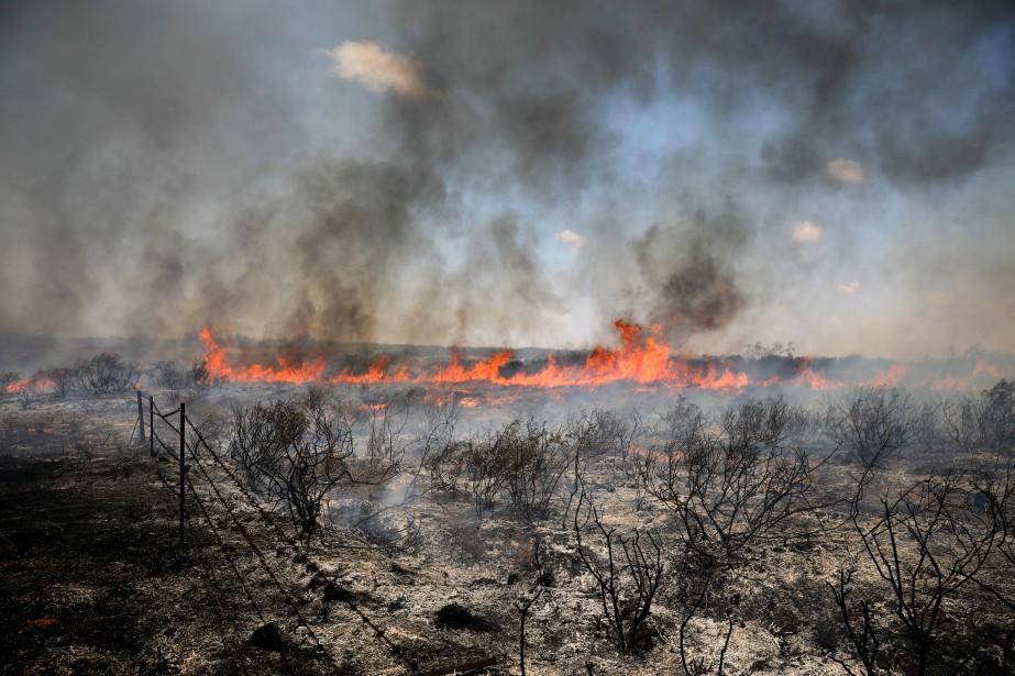 Un feu faisait rage côté israélien à la... (Photo Amir Cohen, REUTERS)