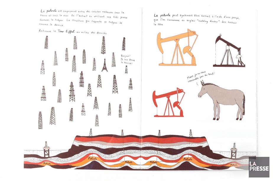 Deux pages du livre Adieu, pétrole... (PHOTO BERNARD BRAULT, LA PRESSE)