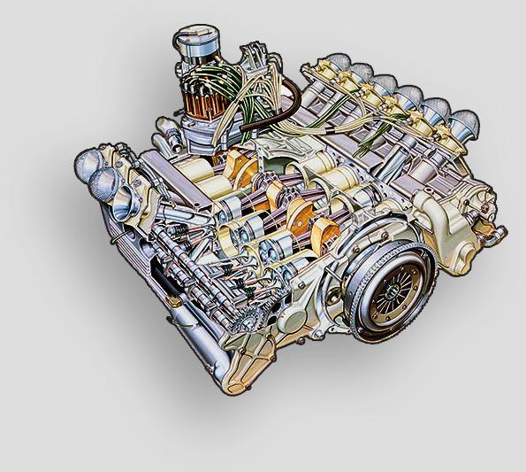 Ferrari 312 T3 -1978 FERRARI 015 F-12 12-cylindres à 180degrés (à plat) en position longitudinale2991,8cm 3 , double arbre à cames en tête (quatre soupapes par cylindre)Cette disposition «à plat» permettait d'obtenir un centre de gravité trèsbas. | 7 juin 2018
