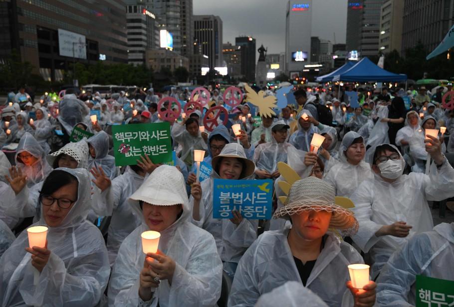 Un rallye promouvant la paix intercoréenne s'est déroulé... (PHOTO AFP)