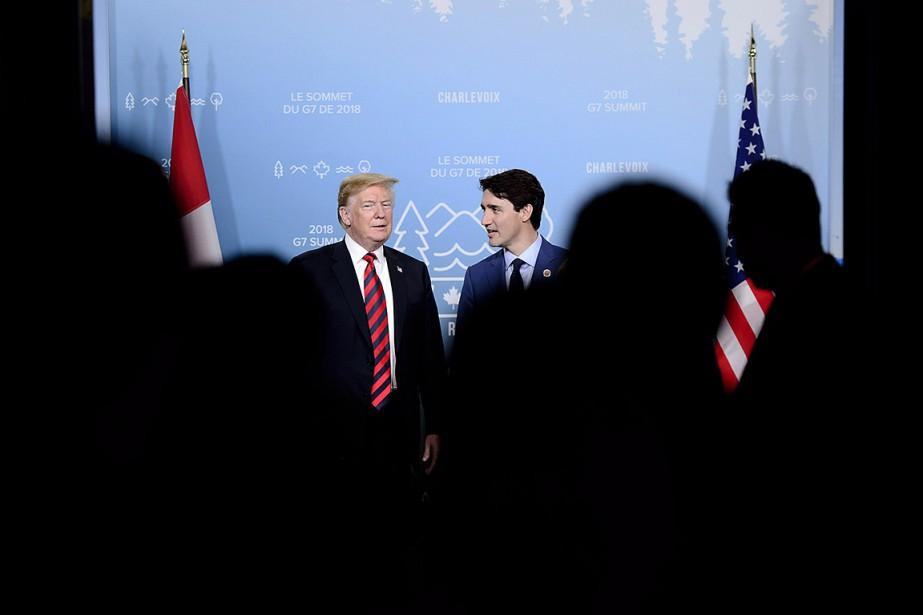 Donald Trump et Justin Trudeau, le 8 juin,... (Sean Kilpatrick, archives PC)