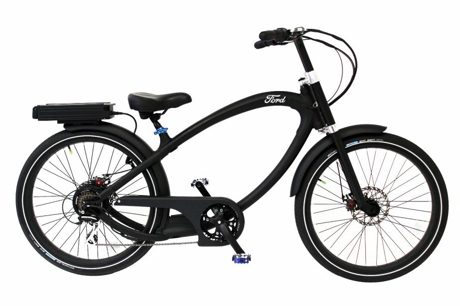 <strong>Ford Super Cruiser -</strong>La société californienne Pedego fabrique ce vélo électrique pour Ford qui semble fort confortable. Son moteur de 500 W permet de parcourir de longues distances sans trop d'effort. Prix : 4800 $. (Photo Pedego)