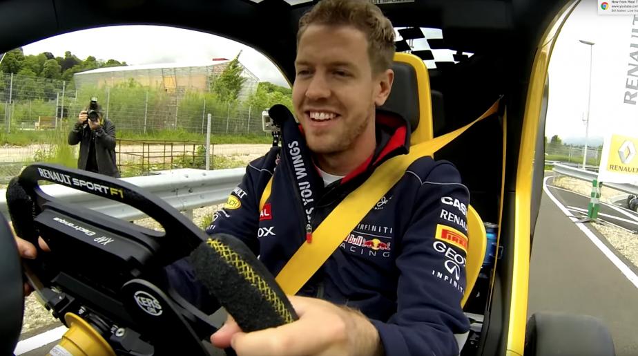 Vettel avait été invité au printemps 2103 à essayer une mini-voiture électrique Twizy dans laquelle les ingénieurs de Renault avaient mis un KERS, des ailerons et un volant de F1. | 15 juin 2018