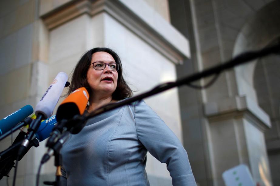 La cheffe du Parti social-démocrate allemand, Andrea Nahles.... (Photo Axel Schmidt, Reuters)