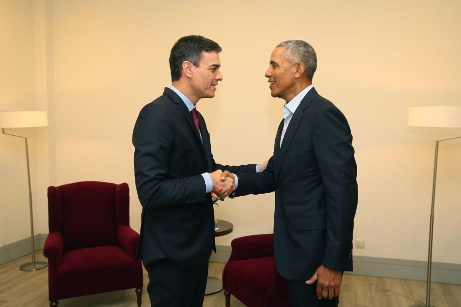 Barack Obama rencontre le Premier ministre espagnol Pedro... (Photo Fernando Calvo, AFP)