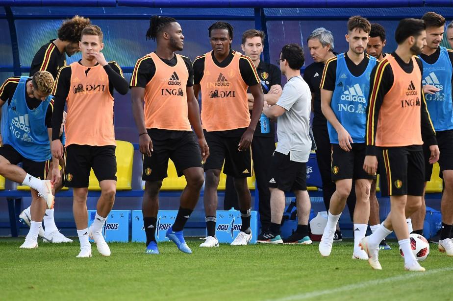 L'équipe belge s'entraîne le 8juillet à Dedovsk, à... (photo FRANCK FIFE, Agence France-Presse)