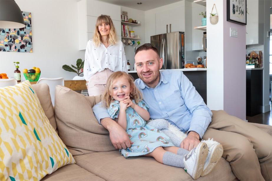 Qui habite ici? Charlène Sibué, Cédric Gaden e Lou, 3 ans (Photo Hugo-Sébastien Aubert, La Presse)