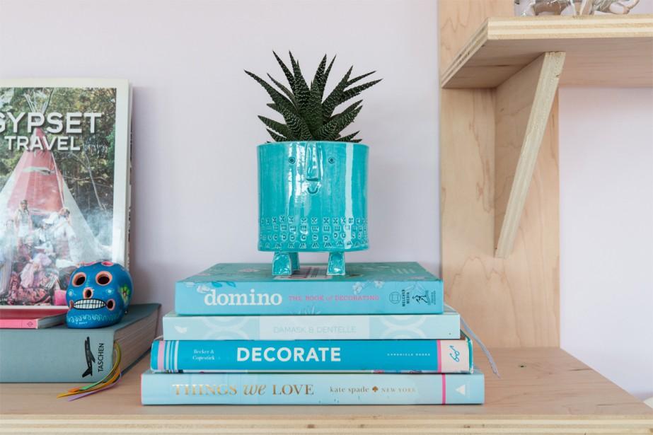 Installation maison:Les beaux livres, les magazines, les souvenirs de voyage et les céramiques sont en vedette. (Photo Hugo-Sébastien Aubert, La Presse)