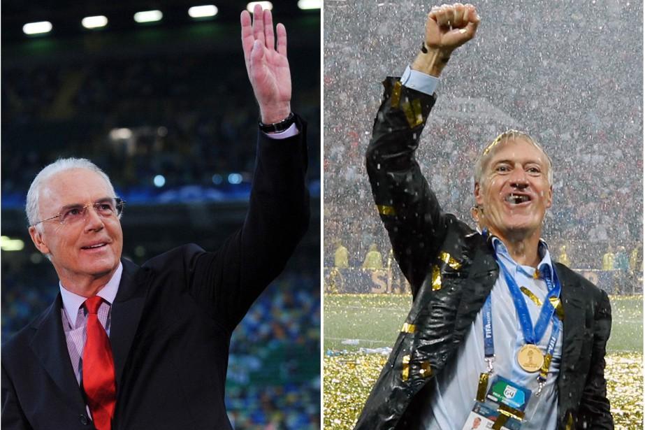 Le sélectionneur français Didier Deschamps (à droite) a... (Photos AFP)