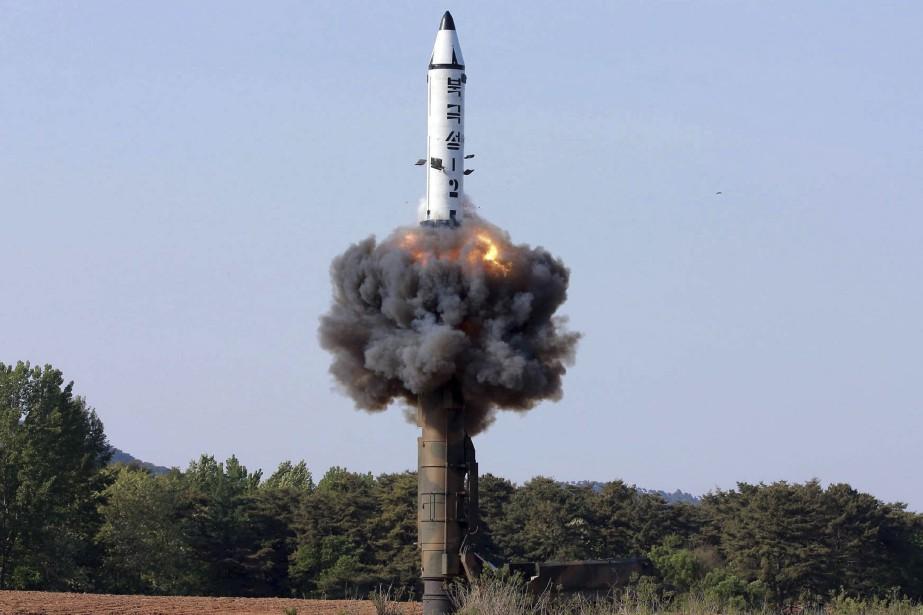 Test d'un missile nord-coréen Pukkuksong-2.... (ARCHIVES AP)