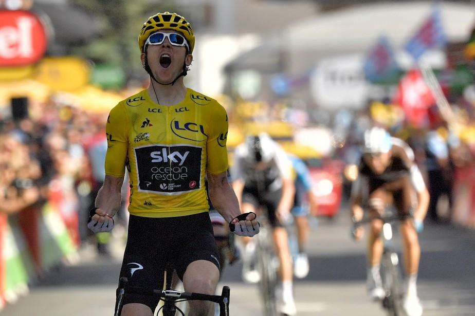 Le détenteur du maillot jaune Geraint Thomasa remporté... (Photo Marco Bertorello, AFP)