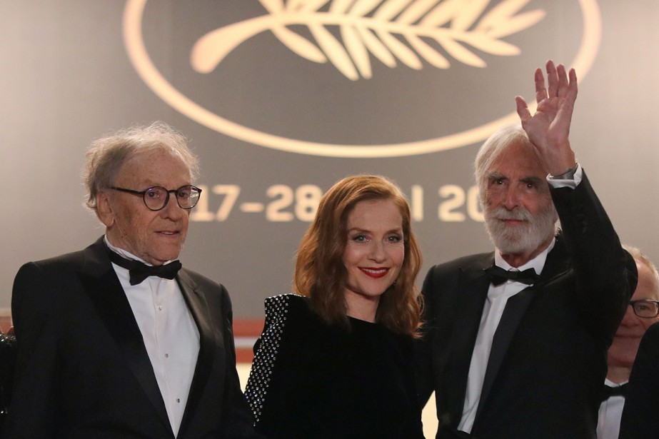 Jean-Louis Trintignant, Isabelle Huppert et Michael Haneke lors... (Photo archives AFP)