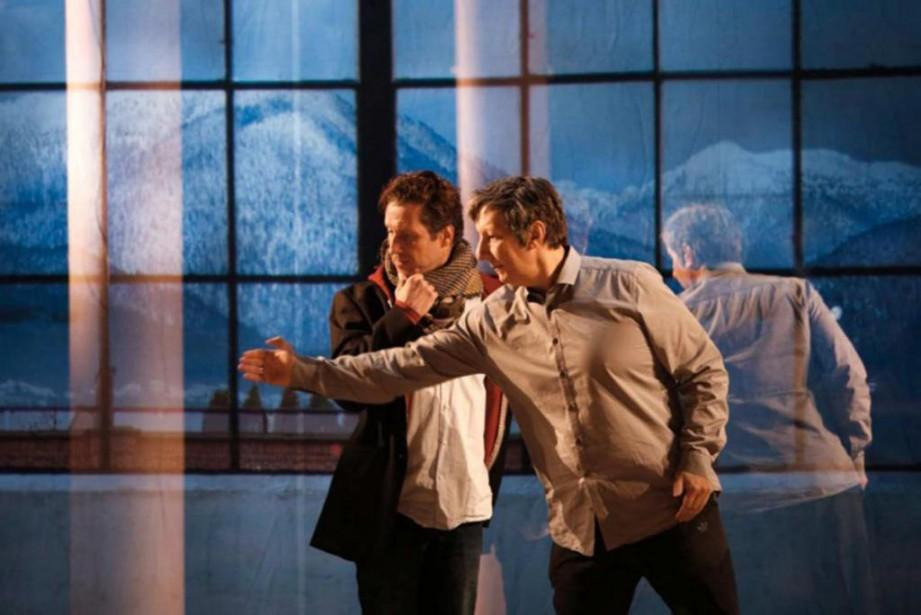 Sébastien Brottet-Michel et Robert Lepage en répétitions en... (Photo Michèle Laurent,fournie par le Théâtre du Soleil)