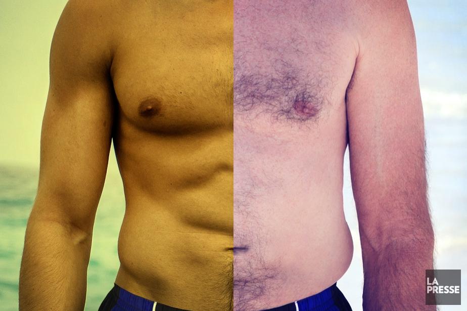 Les hommes aussi s'habillent plus légèrement l'été... (Photomontage La Presse)
