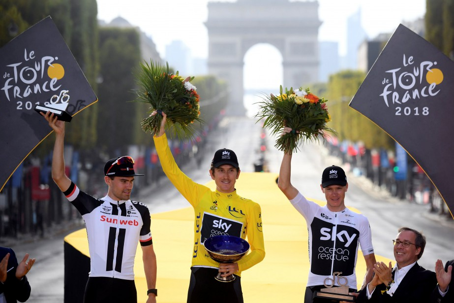 Geraint Thomas a fouléla plus haute marche du... (PHOTO REUTERS)
