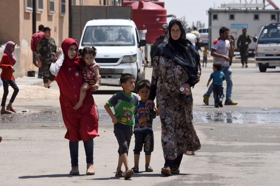 Selon Soueida24, les femmes et enfants ont été... (Photo George Ourfalian, Agence France-Presse)