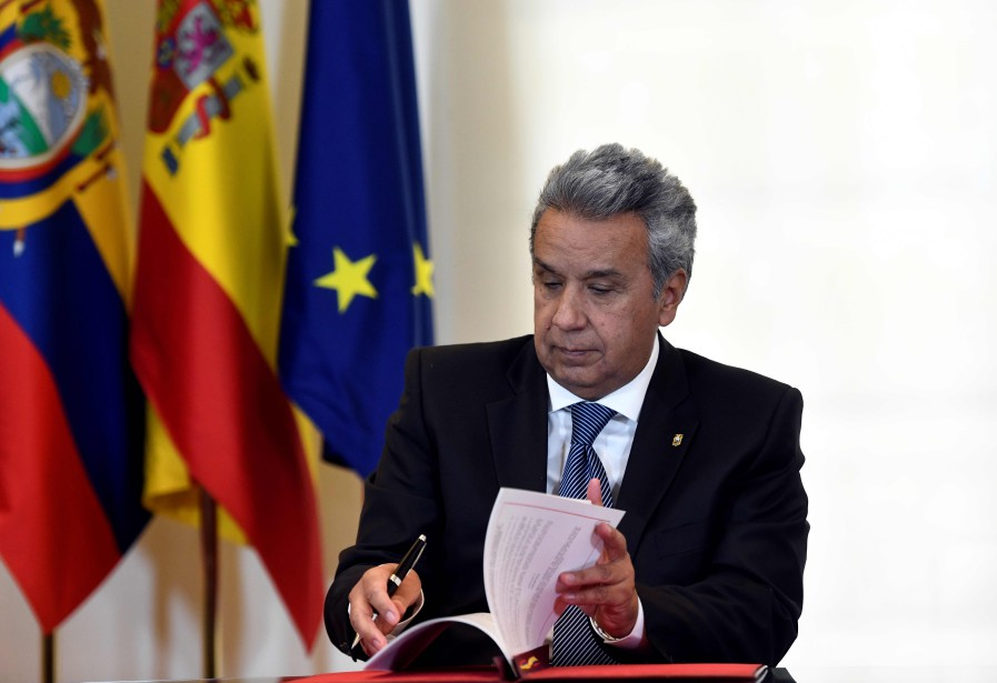 Le président de l'Équateur, Lenin Moreno... (PHOTO OSCAR DEL POZO, archives AFP)