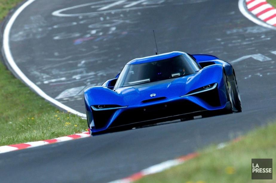 La Nio EP9 lors de son tour de piste record au circuit du Nurburgring, en Allemagne. (Photo Nio)