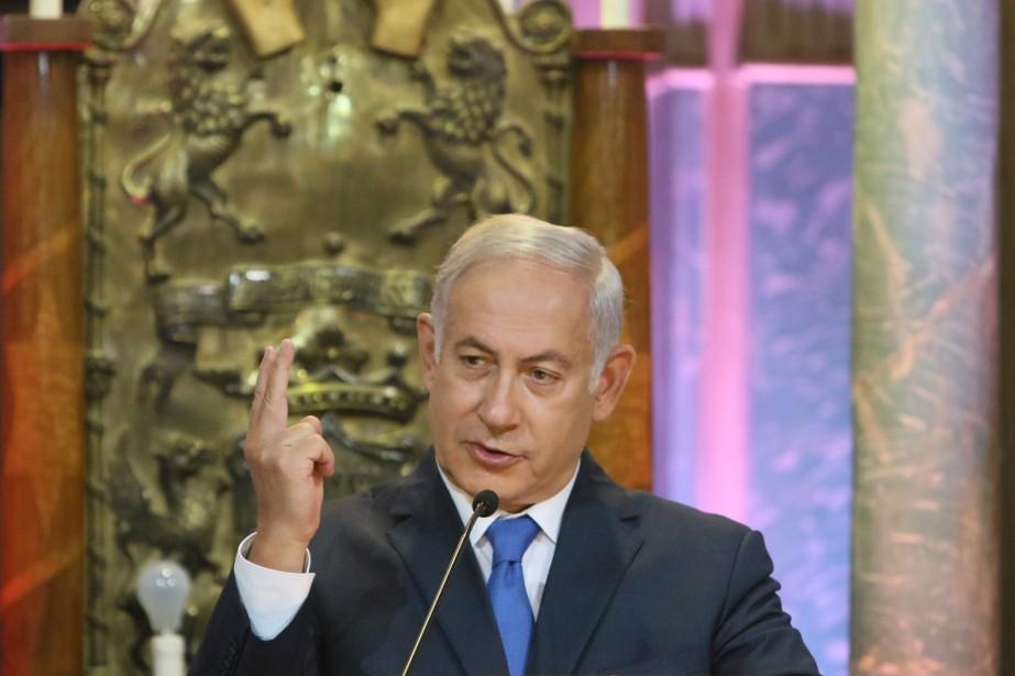 Le premier ministre israélien Benyamin Nétanyahou, en visite... (AFPhoto Petras Malukas, AFP)