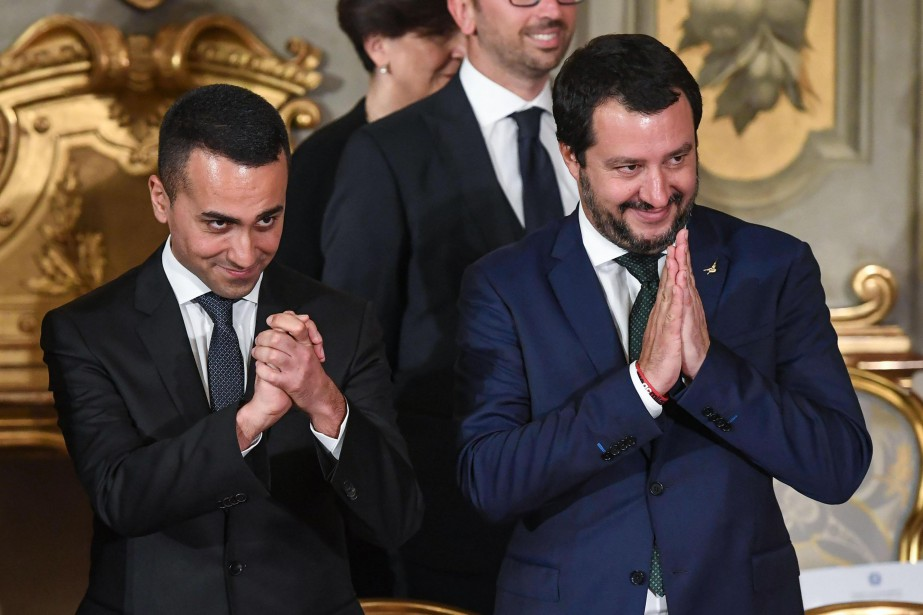 Les vice-premiers ministres Luigi Di Maio,du Mouvement 5... (photo Alessandro Di Meo, ANSA, archives AP)