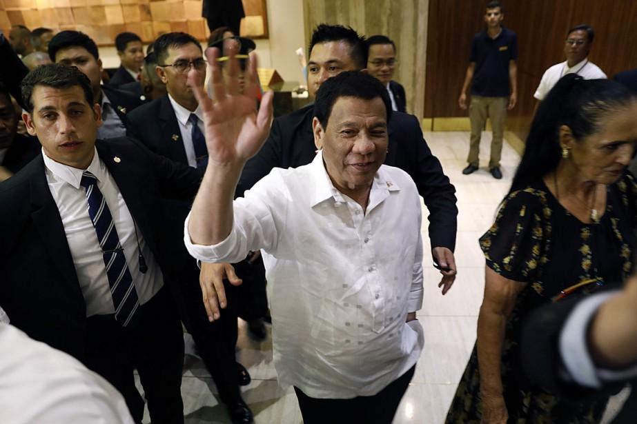 Le président philippin Rodrigo Duterte est arrivé à... (PHOTO MENAHEM KAHANA, AGENCE FRANCE-PRESSE)