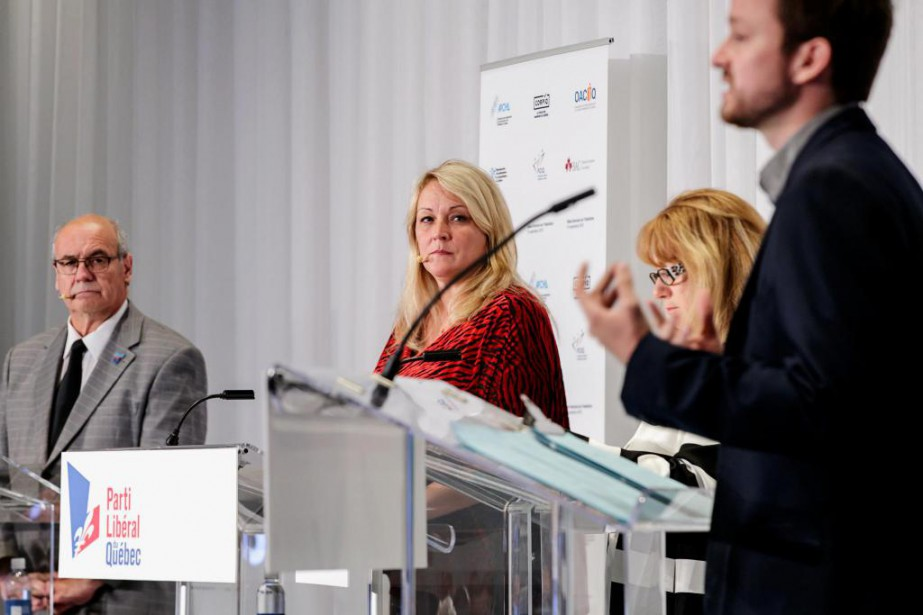 Mario Laframboise (CAQ), Lise Thériault (PLQ), Carole Poirier... (Photo Alain Roberge, La Presse)