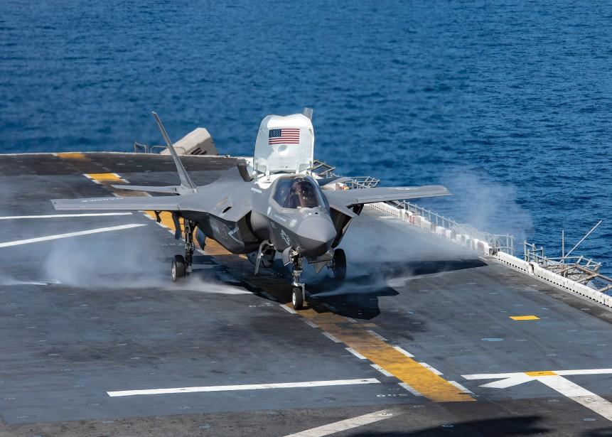 L'appareil utilisé était un F-35B, la variante à... (Photo JENNA DOBSON, AFP)