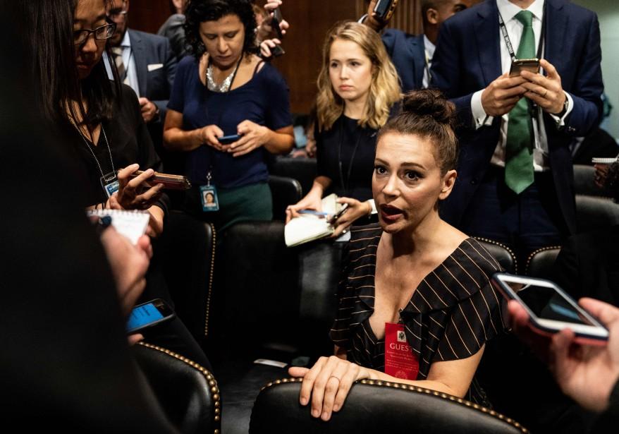 L'actrice américaine Alyssa Milano, était présente au Sénat... (Photo ERIN SCHAFF, AFP)