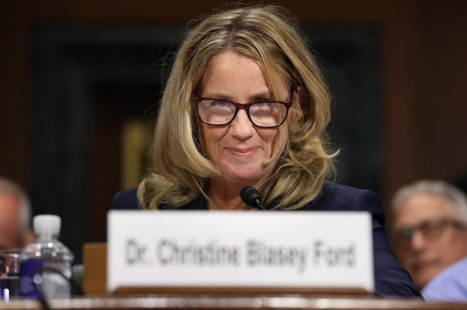 Christine Blasey Ford lors de son témoignage, hier,... (PHOTO WIN McNAMEE, GETTY IMAGES )