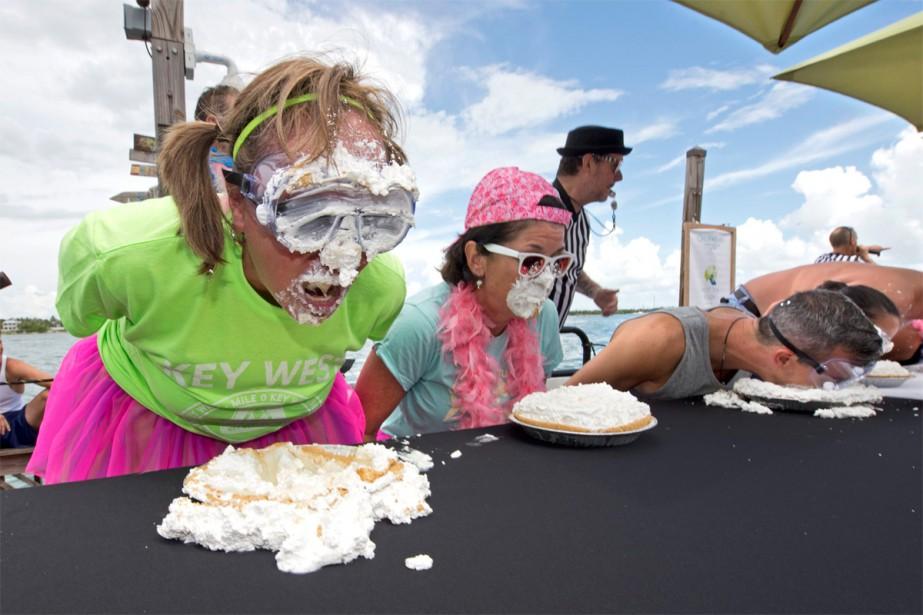 Concours d'empiffrage de tarte à la lime, à... (PHOTO ROB O'NEAL, FLORIDA KEYS NEWS BUREAU, ARCHIVES ASSOCIATED PRESS)