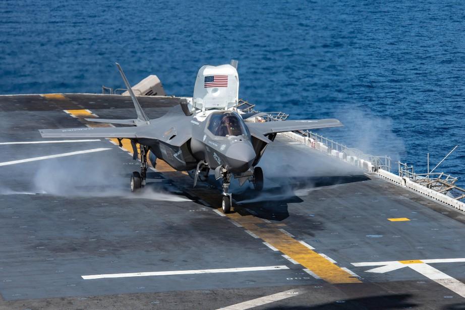 Un F-35B LightningII.... (Photo JENNA DOBSON, archives Agence France-Presse)