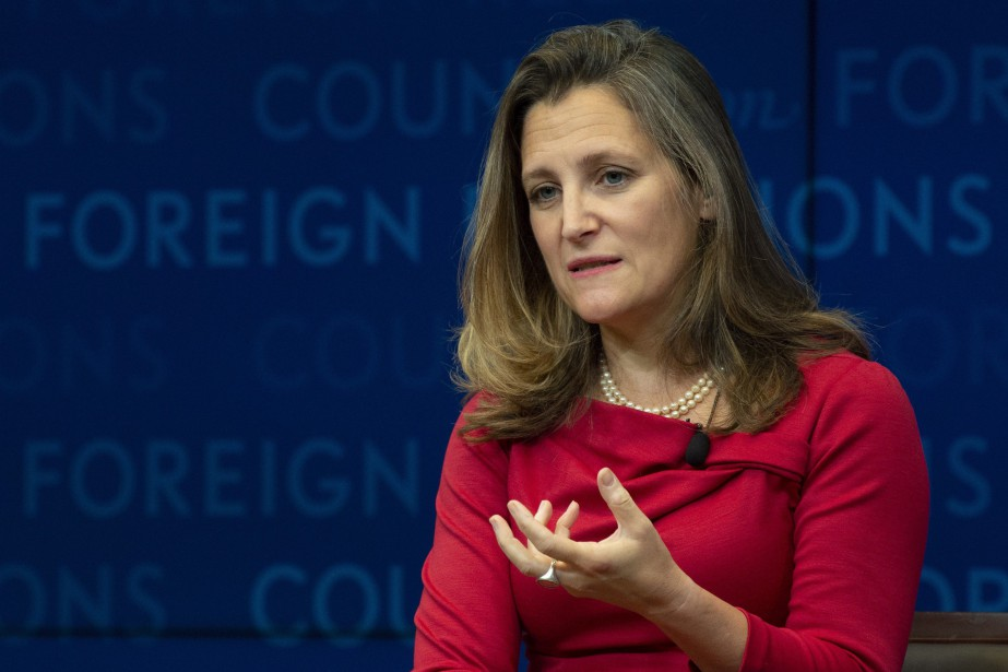 La ministre des Affaires étrangères canadienne Chrystia Freeland... (PHOTO Adrian Wyld, ARCHIVES LA PRESSE CANADIENNE)