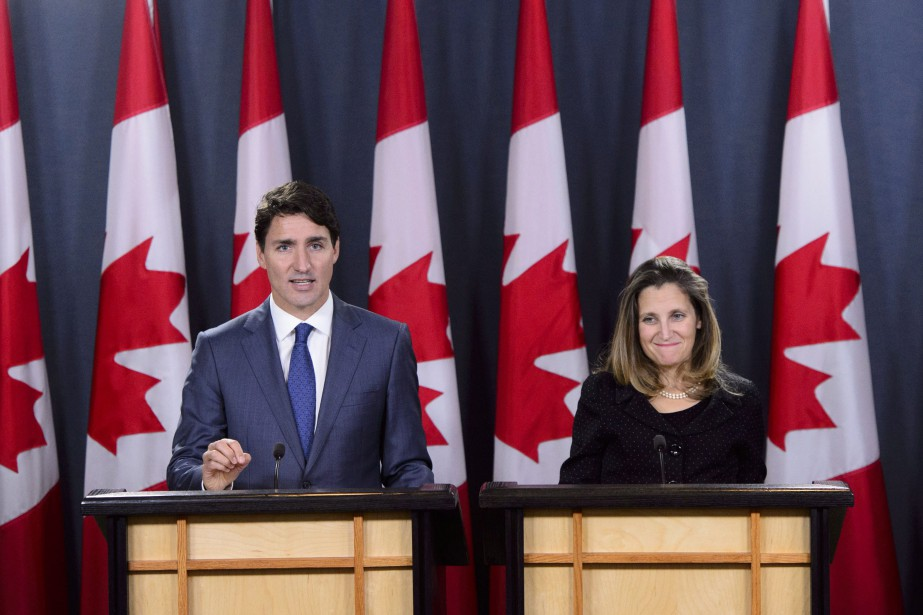 Justin Trudeau et Chrystia Freeland... (Photo Sean Kilpatrick, La Presse canadienne)