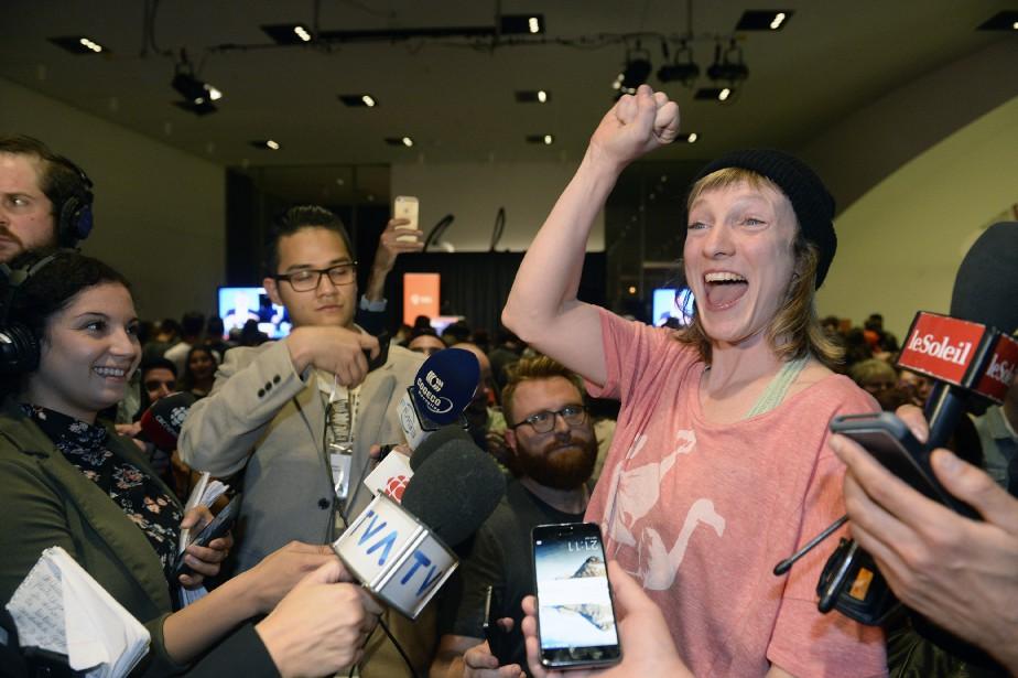 Catherine Dorion de Québec solidaire, éluedans la circonscription deTaschereau,à Québec, n'a pas caché sa joie | 1 octobre 2018